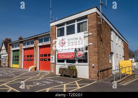 Ambulance station, fire and rescue station, Sidmouth, Devon, UK. - Stock Image