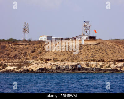 A United Nations watch tower near Famagusta, Cyprus. Since the Turkish invasion of northern Cyprus in 1974, the - Stock Image