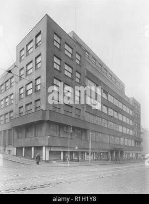 The Czechoslovak Radio Building on Stalinova Street (later Vinohradska) in Prague, Czechoslovakia, undated photo. (CTK Photo) - Stock Image