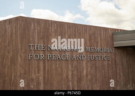 Entrance to The National Memorial for Peace and Justice museum and monument to promote peace, justice, civil rights in Montgomery Alabama, USA. - Stock Image