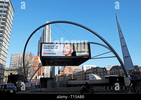 Youtube music app electronic digital advert screen at Old Street roundabout In London EC1 England UK  KATHY DEWITT - Stock Image