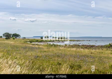 Big and Little Karlsö Islands seen from Västergarn, Gotland - Stock Image