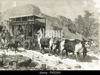 A Chopaya, or Hindu travelling carriage, cattle drawn travel carriage, India 19th century - Stock Image