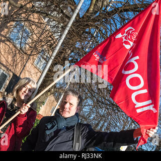 Sir Keir Starmer and Jenny Formby with Labour Party flag at the East Midlands Labour Party conference 2019. - Stock Image