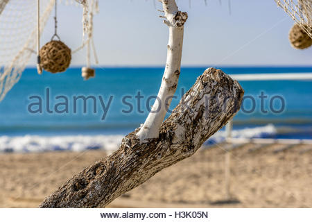 Two dry white branches and fishing net, at background blue mediterranean sea on a a sunny day - Stock Image