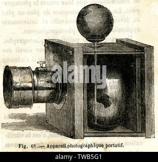 An example of a early portable camera.      Date: 19th century - Stock Image
