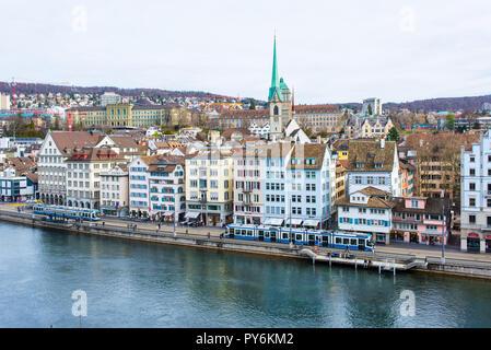 Zurich, Switzerland - March 2017: Aerial view of Zurich city center with river Limmat - Stock Image