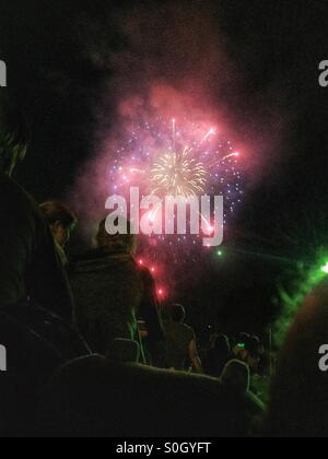 Fireworks on the 4th of July in Lakewood Ohio. - Stock Image