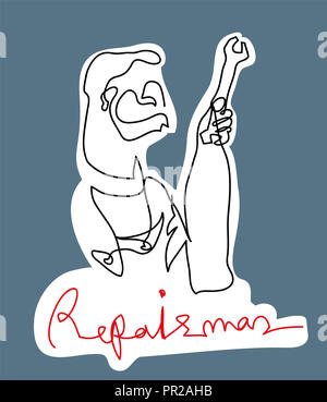 Repairman holding wrench.  Black and white simple line drawing of repairman with color background. - Stock Image