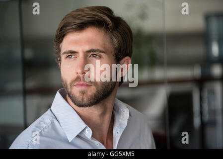 Close-up of a man thinking - Stock Image