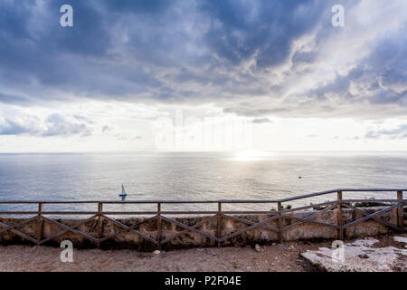 View from the terrace of the lighthouse Cap Blanc, Mallorca, Balearic Islands, Spain - Stock Image