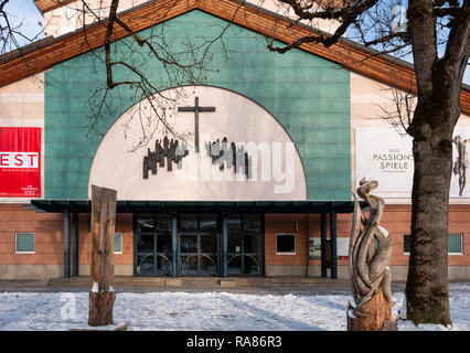 The Passion of Christ is performed every ten years at the Passion play theater, or Passionspielehaus in Oberammergau Germany - Stock Image
