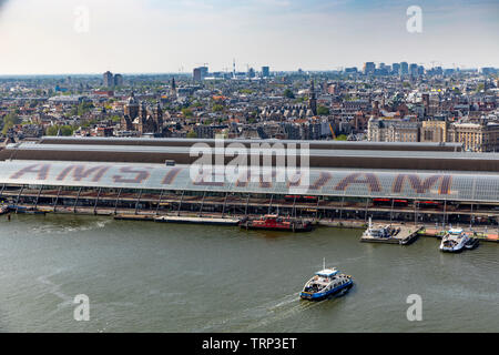 Amsterdam, Netherlands, central station and bus station, Amsterdam Centraal, river Ij, passenger ferries, - Stock Image
