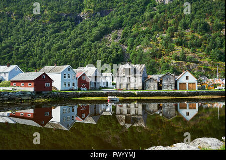 Shoreline Laerdal Norway historic village with old wood houses before the fire - Stock Image