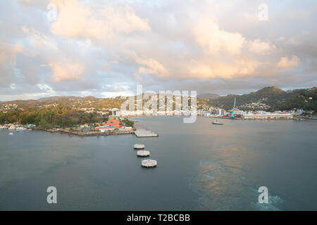 View from a cruise ship over Castries in St Lucia, The Caribbean - Stock Image