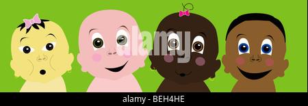 Multi-ethnic babies, illustration - Stock Image