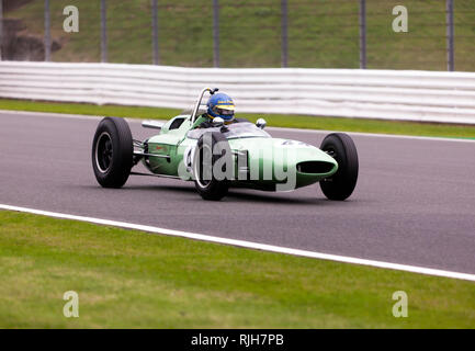 Andrew Beaumont driving his green, 1962, Lotus 24 944 during the  Maserati Trophy for HGPCA Pre'66  Grand Prix Cars, Silverstone Classic 2017 - Stock Image