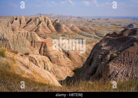 Badlands National Park, South Dakota, USA. Landscape showing the layers of different rock formations - Stock Image