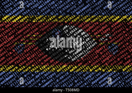 Swaziland flag  is depicted on the screen with the program code. The concept of modern technology and site development. - Stock Image