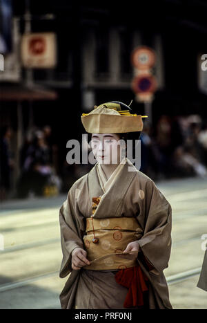 A woman in traditional costume at the Festival of the Ages, Jidai Matsuri, in Kyoto, Japan - Stock Image