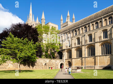 Medeival cloisters near the south face of Peterborough cathedral Peterborough Cambridgeshire England uk gb Europe - Stock Image
