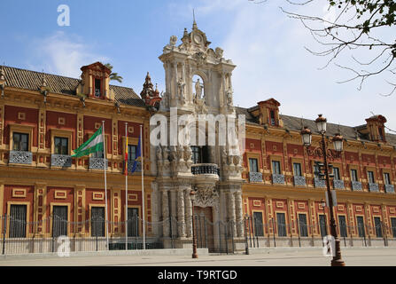 Spain. Andalusia. Seville. Palace of San Telmo.  Main facade with Churrigueresque entrance, 1754 by Figueroa family. - Stock Image