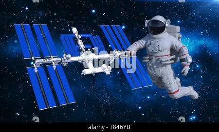 Astronaut floating above space station, cosmonaut in space with spacecraft in the background, 3D rendering - Stock Image