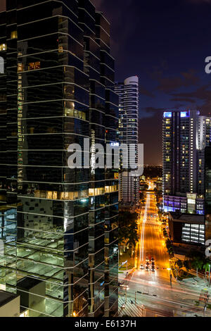 Evening over downtown near 1221 Brickell Office high-rise building , Miami, Florida at Corner of Brickell Avenue - Stock Image