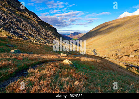 A view along the Kirkstone Pass looking towards Brothers Water and the Hartsop Valley in the English Lake District. - Stock Image
