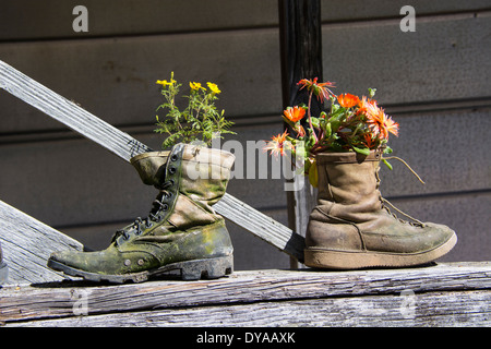 Two old boots used  as quaint and unusual flowerpots. Upcycling, Upcycled, Upcycle or Recycle in garden. - Stock Image