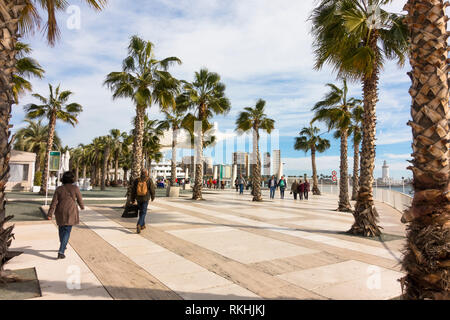 Malaga Spain, Malaga port with El Palmeral de las Sorpresas, main promenade of harbour, Andalusia, Spain. - Stock Image