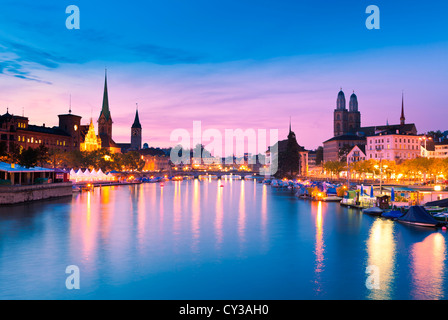 Zurich Skyline at the Blue Hour - Stock Image