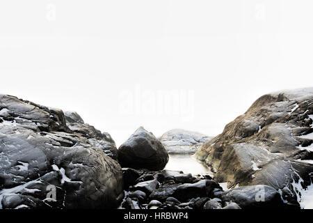 Foggy winter landscape - Stock Image