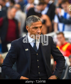 Brighton manager Chris Hughton during the Premier League match between Brighton & Hove Albion and Southampton at The American Express Community Stadium . 30 March 2019 Editorial use only. No merchandising. For Football images FA and Premier League restrictions apply inc. no internet/mobile usage without FAPL license - for details contact Football Dataco - Stock Image