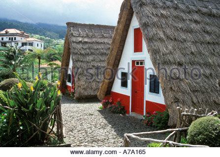 Portugal Madeira Santana A frame houses - Stock Image