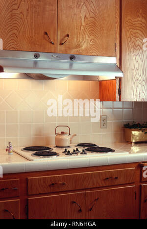 1960s kitchen handmade wooden cabinets, USA - Stock Image