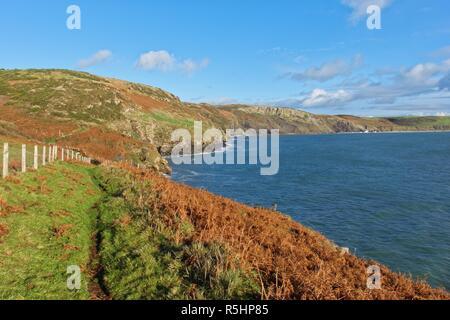 Looking along the Welsh Coast Parth near Mynydd Cilan, towards Porth Ceiriad, near Abersoch, Gwynedd, Wales - Stock Image