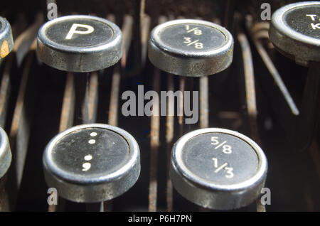 Old Classic Imperial Typwriter Keys Uk Letters Keyboard - Stock Image