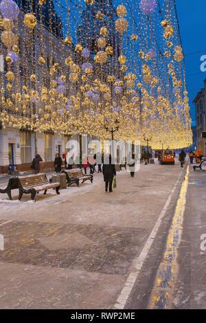 Christmas illumination on Nikolskaya street, Moscow, Russia - Stock Image