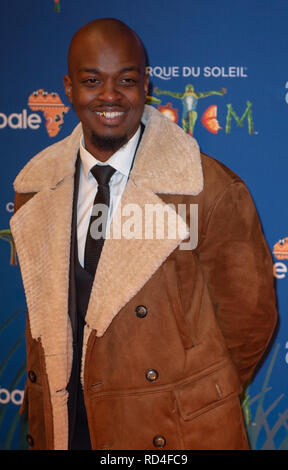 London, United Kingdom. 16 January 2019. George the Poet arrives for the red carpet premiere of Cirque Du Soleil's 'Totem' held at The Royal Albert Hall. Credit: Peter Manning/Alamy Live News - Stock Image