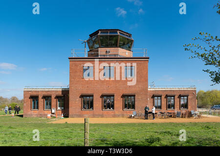 The Control Tower at Greenham Common near Newbury, Berkshire, UK, recently opened to the public. - Stock Image