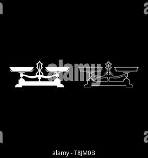 Balancing scales Store weigher Libra icon outline set white color vector illustration flat style simple image - Stock Image