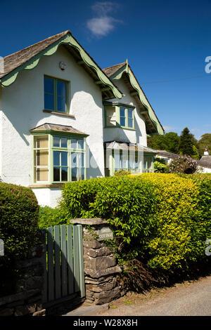 UK, Cumbria, Hawkshead, Roger Ground, garden gate of Swiss Cottage, chalet style property overlooking Esthwaite Water - Stock Image