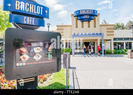 blacklot cafe is a fast food restaurant inside canada's wonderland largeest theme park in canada - Stock Image