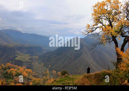 View of Caucasus mountains, Garni, Kotayk Province, Armenia - Stock Image