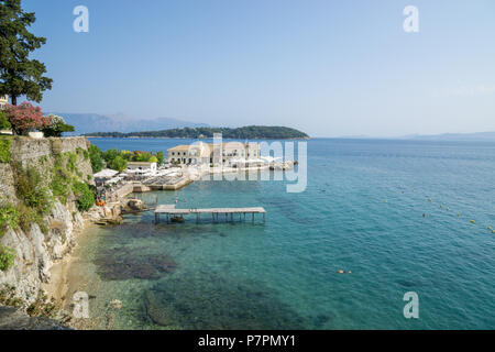 beautiful view over the beach in corfu, greece with really clear water sunny - Stock Image