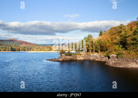 A sunny autumn day at Burrator Reservoir, Dartmoor National Park Devon Uk - Stock Image