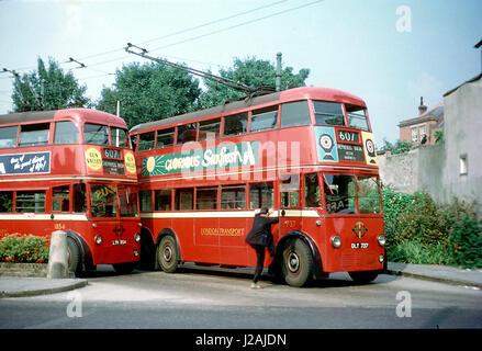 London Transport Trolleybuses at Uxbridge Terminus - Stock Image