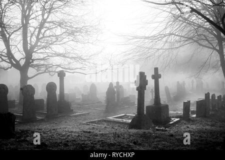 An eary mist covering an English grave yard with about fifty grave stones, the headstones in the foreground are in the shape of large Cristian crosses - Stock Image