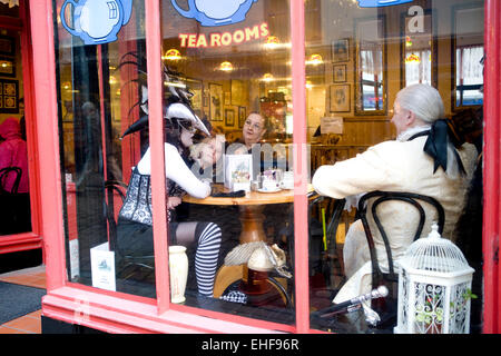 Tea rooms at Whitby Goth Weekender - Stock Image